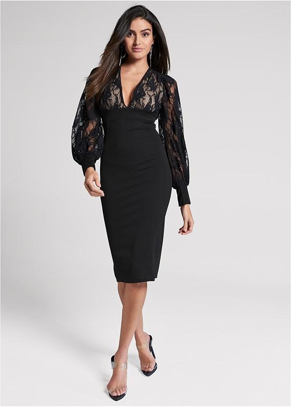 Lace Detail Twofer Dress,Unlined Lace Cut Out Bra,Lucite Strap Heels,Hoop Detail Earrings