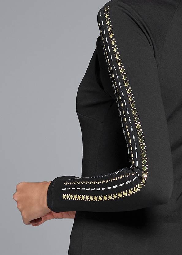 Detail back view Embellished Mock Neck Top