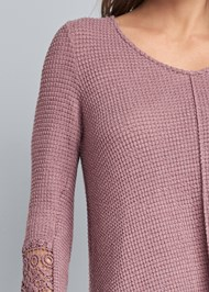 Detail front view Casual Waffle Knit Top