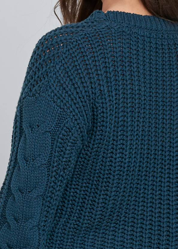 Detail back view Cable Knit Asymmetrical Sweater