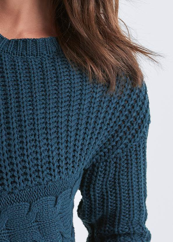 Detail front view Cable Knit Asymmetrical Sweater