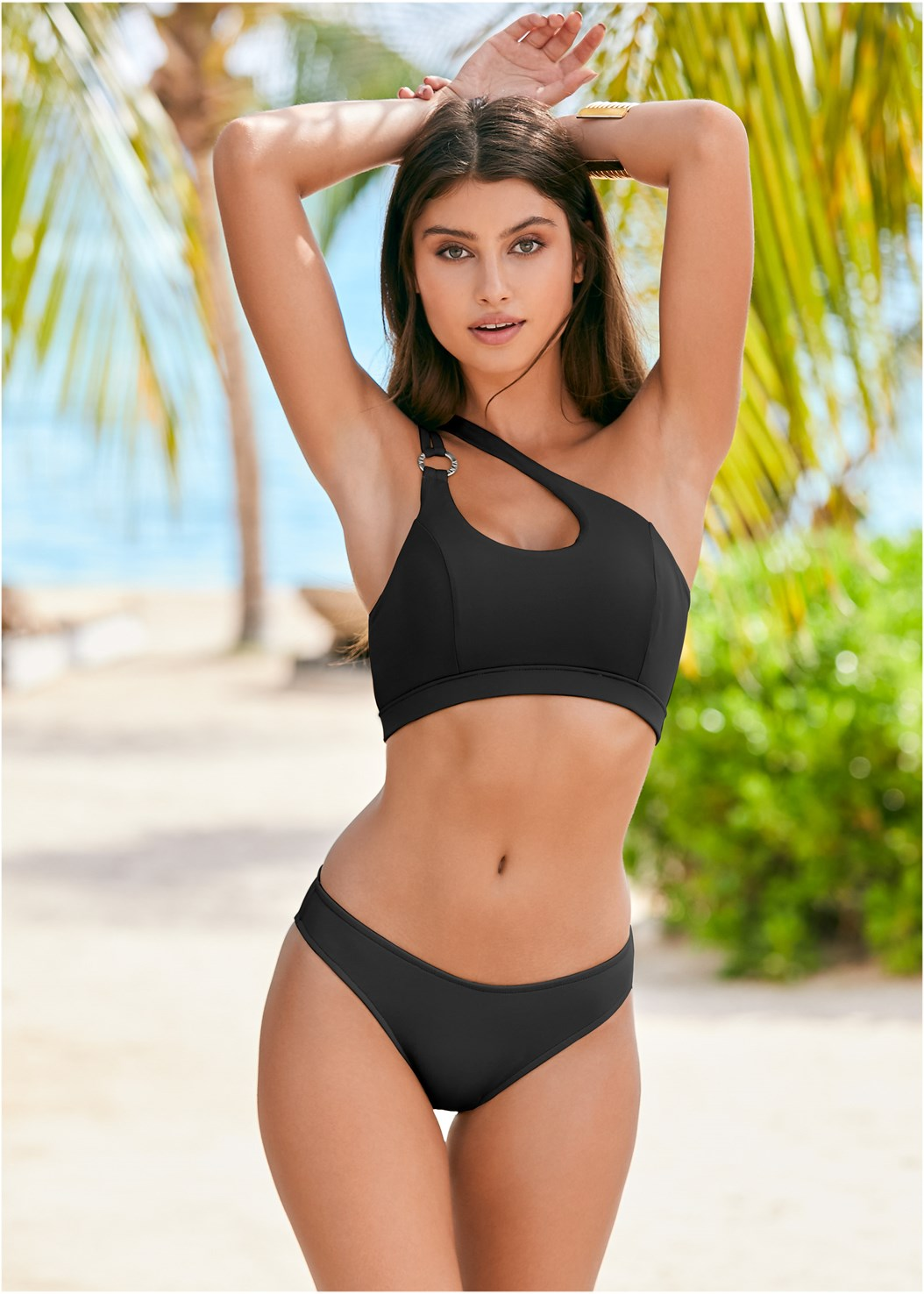 Ring Detail Sport Top,Scoop Front Classic Bikini Bottom
