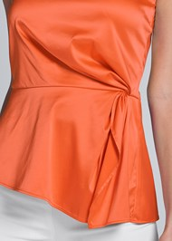 Alternate View One Shoulder Satin Top