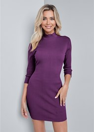 Cropped Front View Mock Neck Ribbed Dress