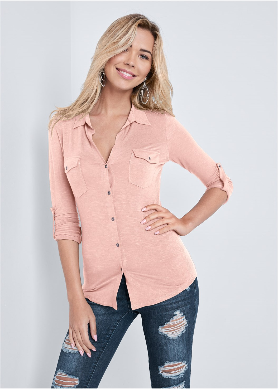 Pocket Button Up Top,Ripped Bum Lifter Jeans,Studded Matte Hoops