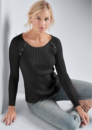 Front View Ribbed Button Detail Sweater