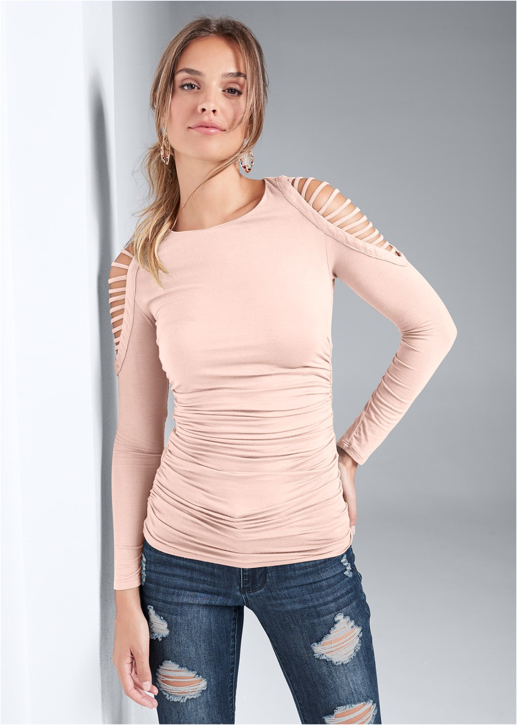Cut Out Cold Shoulder Top,Ripped Bum Lifter Jeans,Mid Rise Color Skinny Jeans,Naked T-Shirt Bra,Peep Toe Booties,Beaded Leaf Shape Earrings
