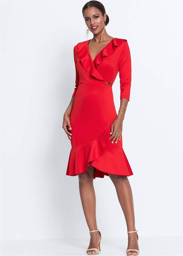 Wrap Detail Dress,Ankle Strap Heels