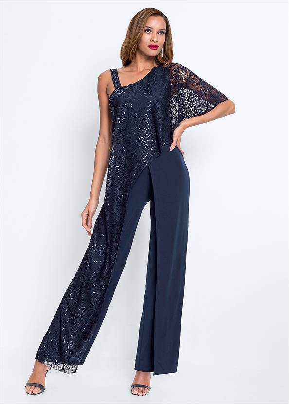 Alternate View Lace Overlay Jumpsuit