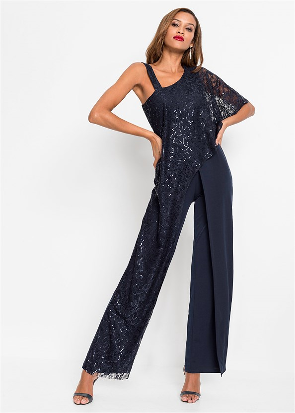 Lace Overlay Jumpsuit,Strapless Bra With Geo Lace,Strappy Mule