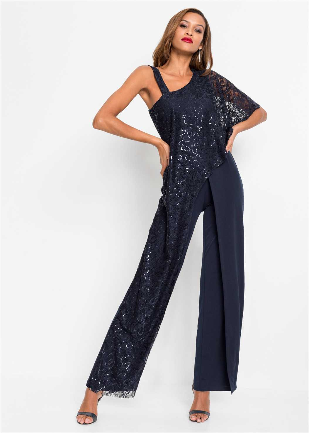 Lace Overlay Jumpsuit,Strappy Mule