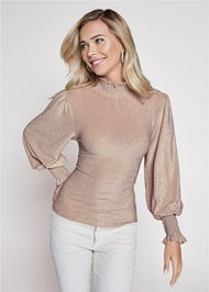Cropped front view Smocked Metallic Top