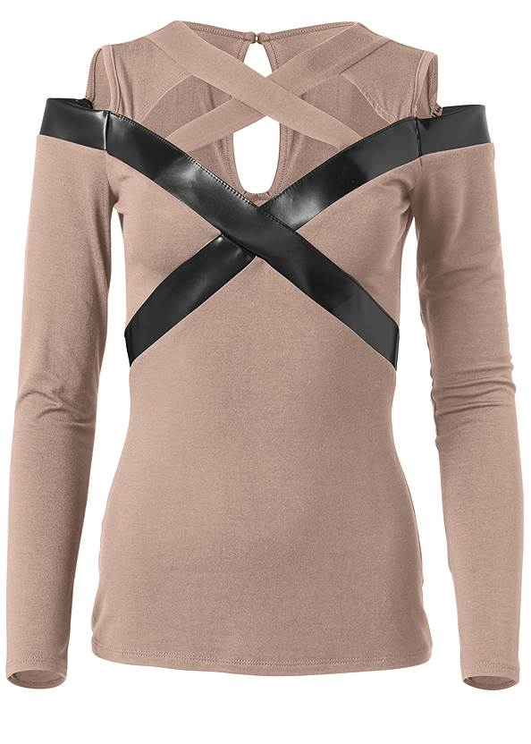 Ghost with background  view Faux Leather Detail Top