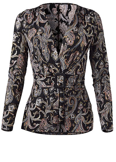 Plus Size Paisley Print Belted Top