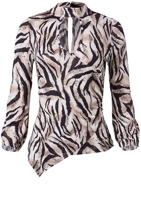 Tiger Print Surplice Top,Faux Leather Pants