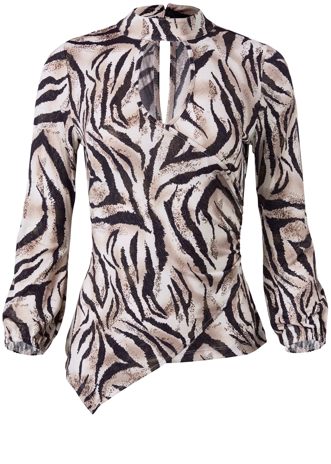 Tiger Print Surplice Top,Faux Leather Pants,Bow Detail Print Heels,Pearl Hoop Earring Set