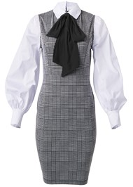 Ghost with background  view Neck Tie Plaid Dress