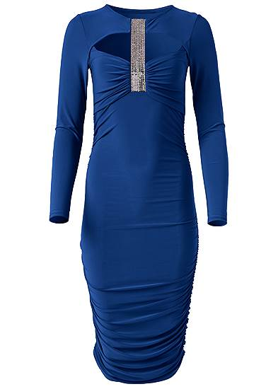 Plus Size Crystal Trim Ruched Dress