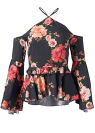 Ghost with background  view Floral Bell Sleeve Top