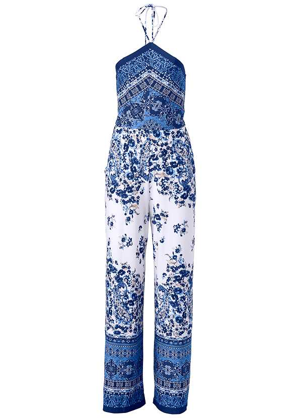 Paisley Halter Jumpsuit,High Heel Strappy Sandals