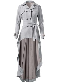 Ghost with background  view Faux Suede Trench Coat