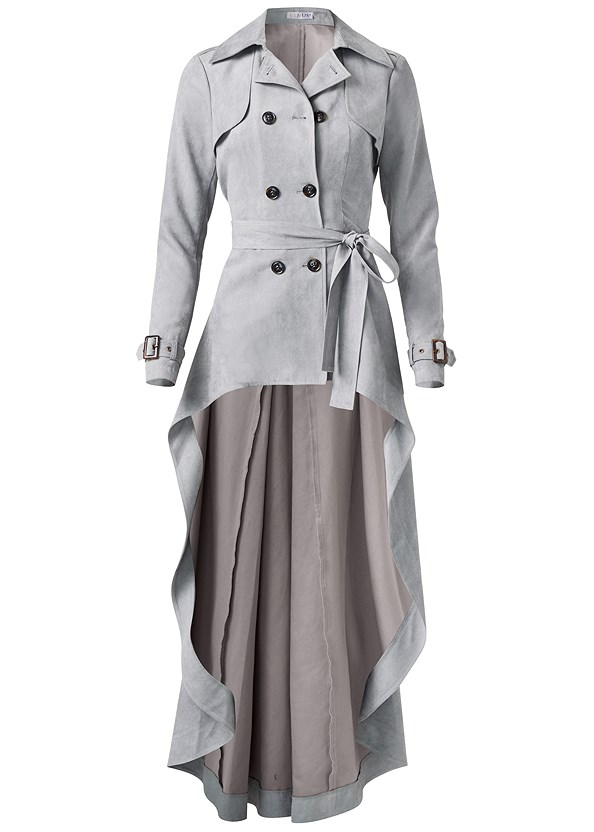 Faux Suede Trench Coat,Basic Cami Two Pack,Bum Lifter Jeans,Lace Up Tall Boots,Studded Matte Hoops