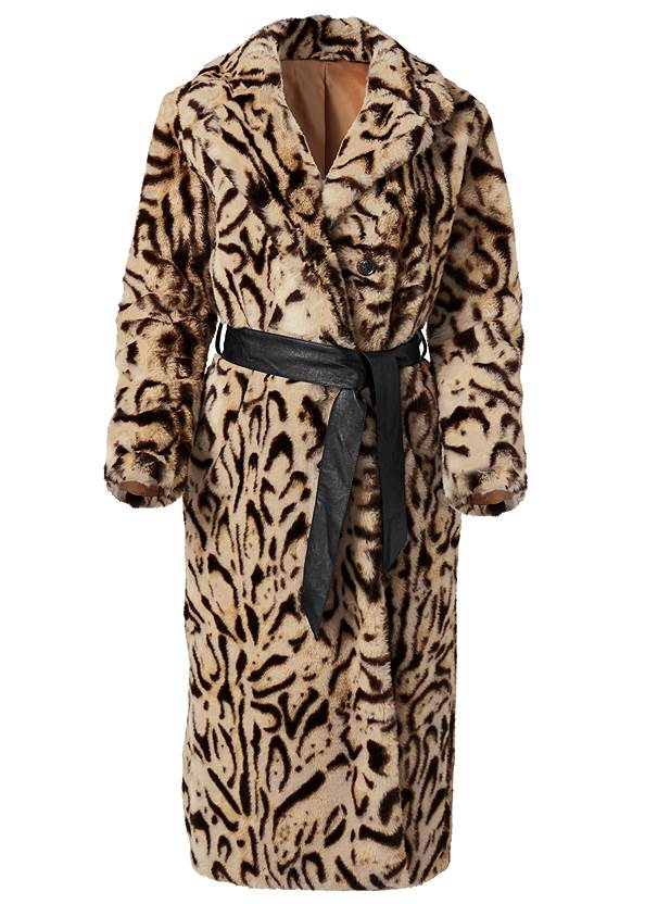 Ghost with background  view Animal Print Faux Fur Coat