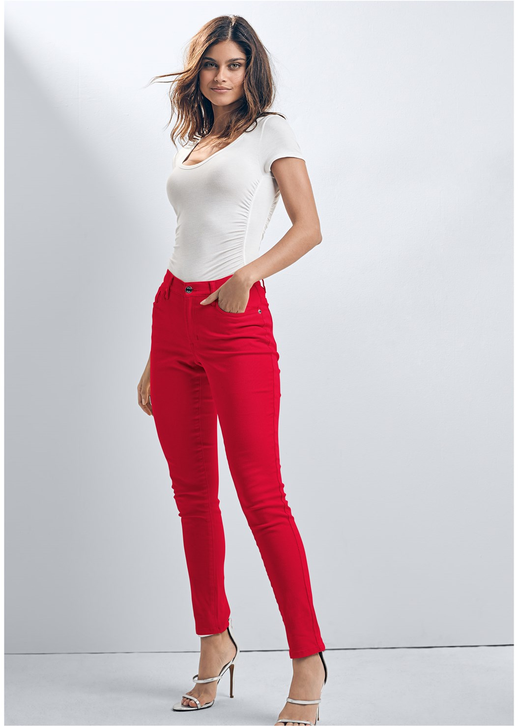 Mid Rise Color Skinny Jeans,Ruched Detail Top,Stretch Hipster 5Pk,High Heel Strappy Sandals,Color Block Mules