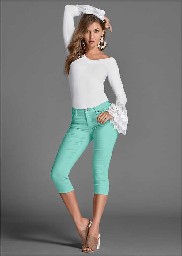 Color Capri Jeans,Off The Shoulder Top,High Heel Strappy Sandals