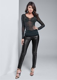 Full front view Rhinestone Mesh Top