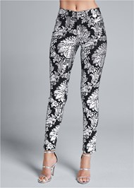Waist down front view Metallic Print Skinny Jeans