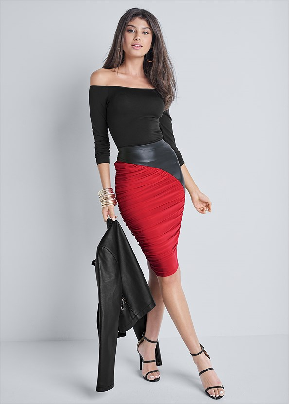 Mixed Material Skirt,Off The Shoulder Top,Faux Leather Lace Up Jacket,High Heel Strappy Sandals
