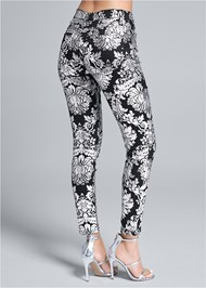Waist down back view Metallic Print Skinny Jeans