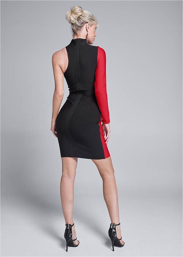 Full back view Color Blocked Bandage Dress
