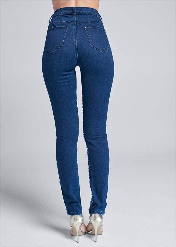 Waist down back view Sequin Velvet Skinny Jeans