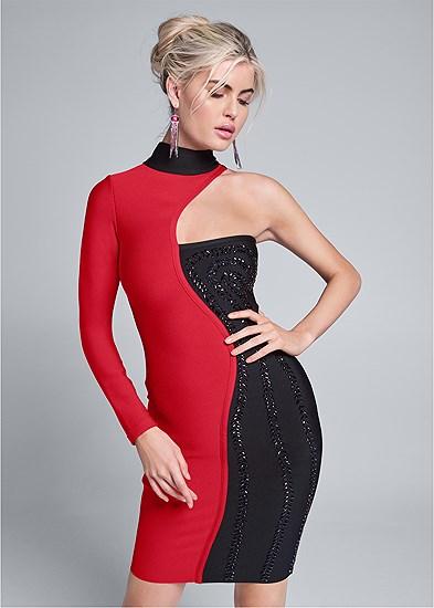 Color Blocked Bandage Dress