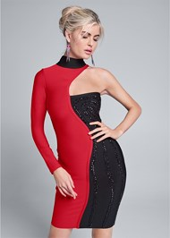 Cropped front view Color Blocked Bandage Dress