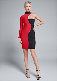 Full front view Color Blocked Bandage Dress