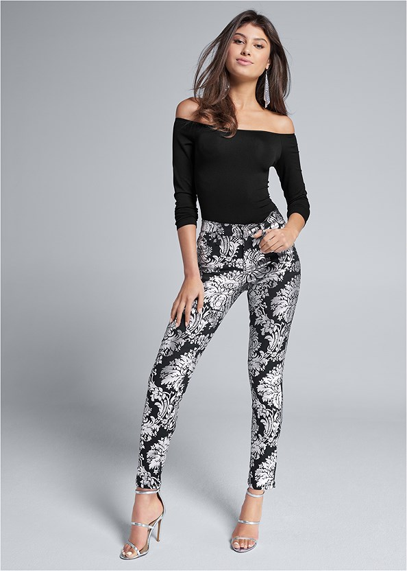 Metallic Print Skinny Jeans,Off The Shoulder Top,Cozy Off Shoulder Sweater,Strapless Bra With Geo Lace,High Heel Strappy Sandals,Strappy Mule,Rhinestone Statement Clutch