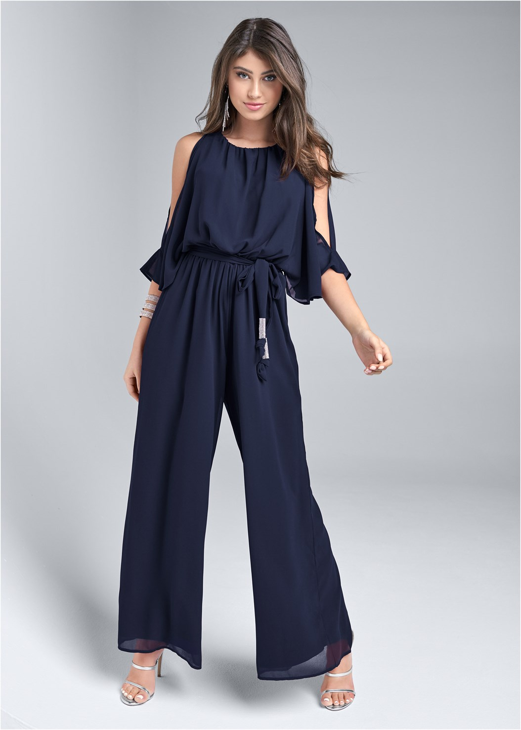 Cold Shoulder Jumpsuit,Seamless Unlined Bra,High Heel Strappy Sandals