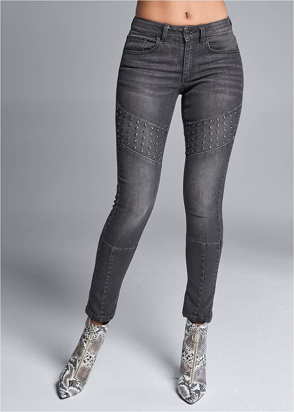 Waist down front view Stud Detail Skinny Jeans
