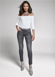 Front View Stud Detail Skinny Jeans