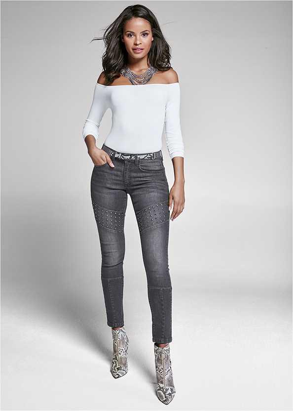 Stud Detail Skinny Jeans,Off The Shoulder Top,Beaded Fringe Medallion Earrings,Animal Print Mesh Belt,Fringe Crossbody