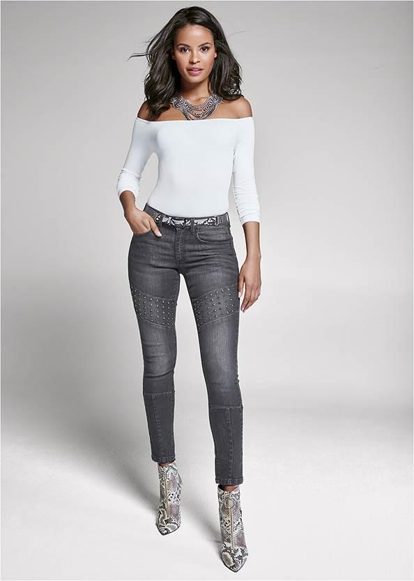 Stud Detail Skinny Jeans,Off-The-Shoulder Top,Circle Detail Booties,Animal Print Mesh Belt