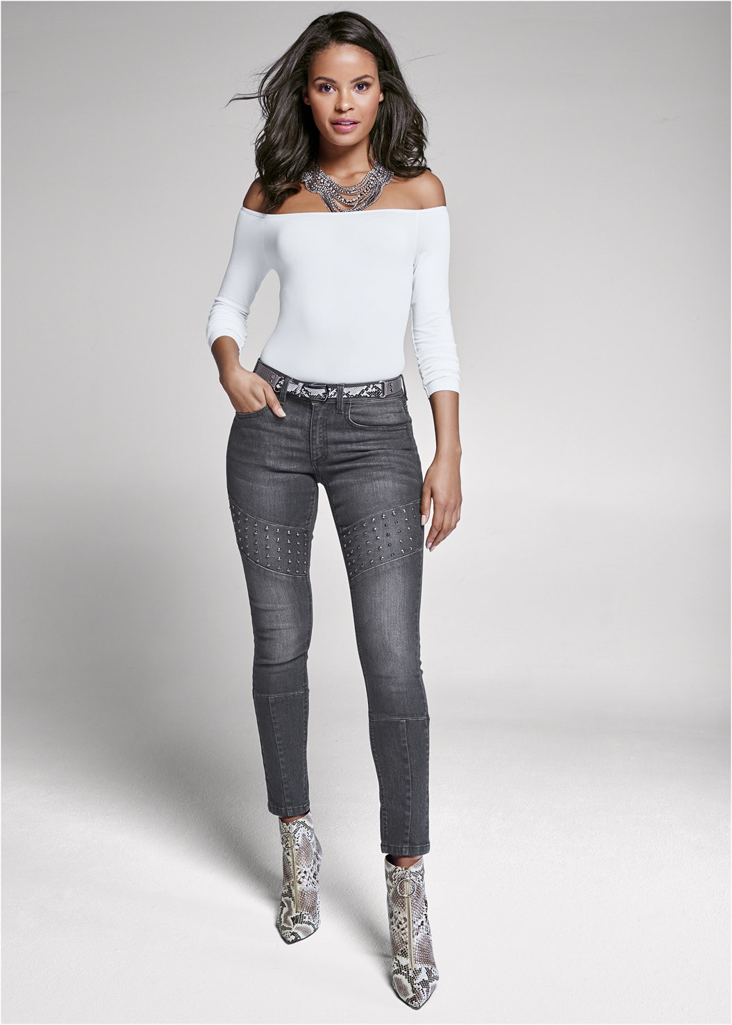 Stud Detail Skinny Jeans,Off The Shoulder Top,Strapless Bra With Geo Lace,Circle Detail Booties,Animal Print Mesh Belt