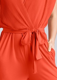 Detail front view Pleated Tie Front Jumpsuit