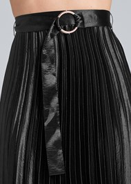 Detail front view Belted Pleated Satin Skirt
