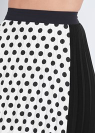 Detail front view Polka Dot Pleated Skirt