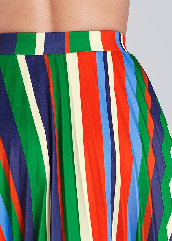 Detail back view Multi Stripe Pleated Skirt
