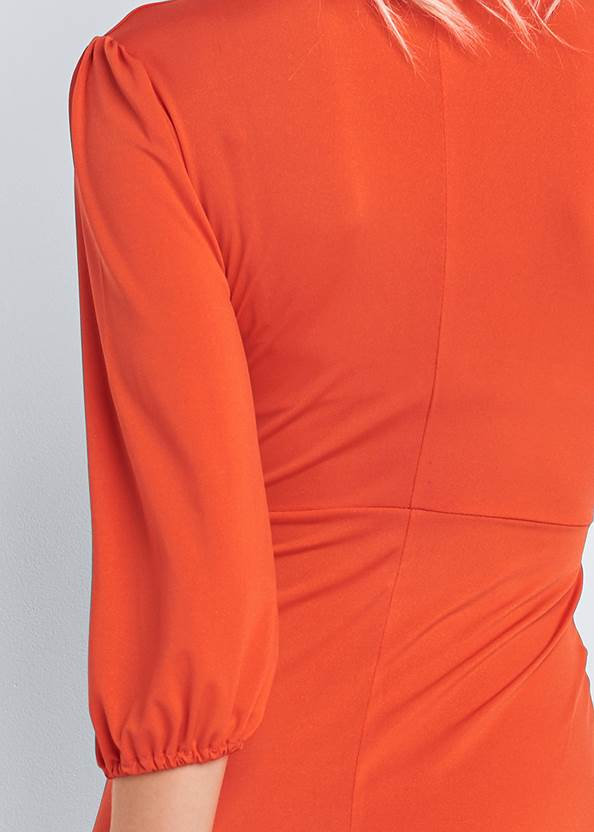 Detail back view Pleated Front Midi Dress